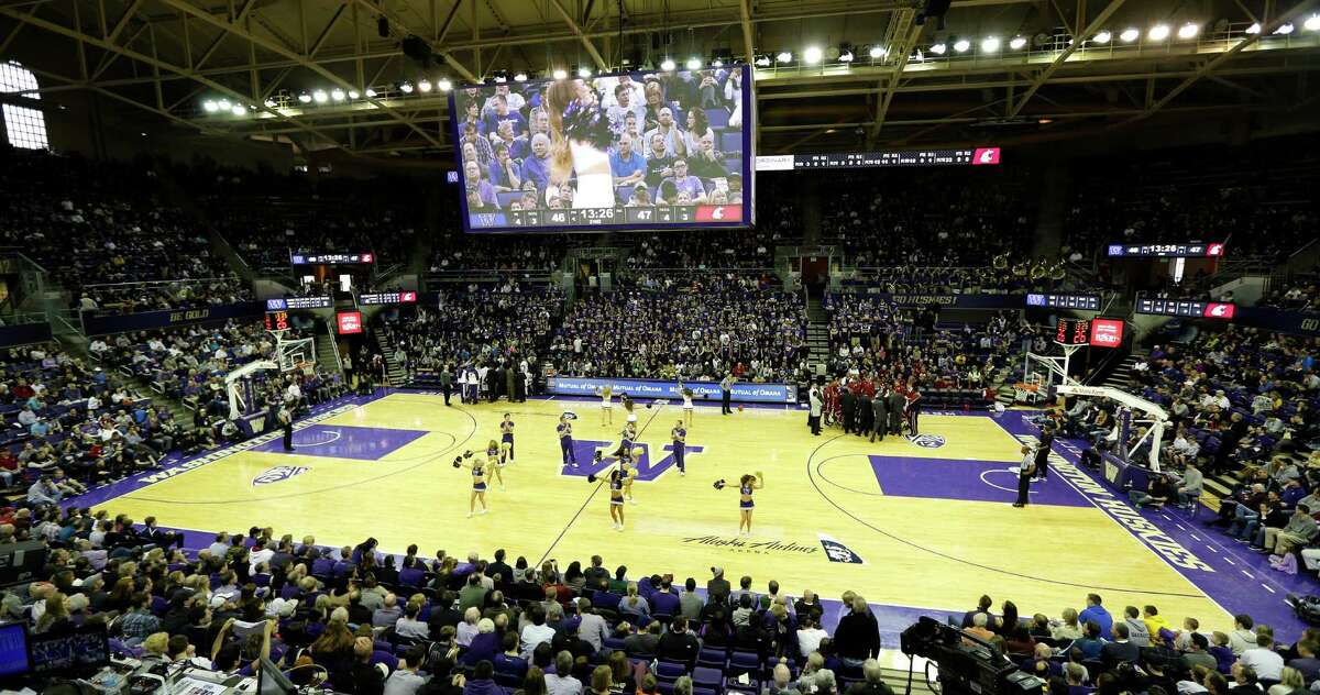 The University of Washington basketball court at Alaska Airlines Arena at Hec Edmundson Pavilion is shown during an NCAA college basketball game between Washington and Washington State, Sunday, March 3, 2013, in Seattle.