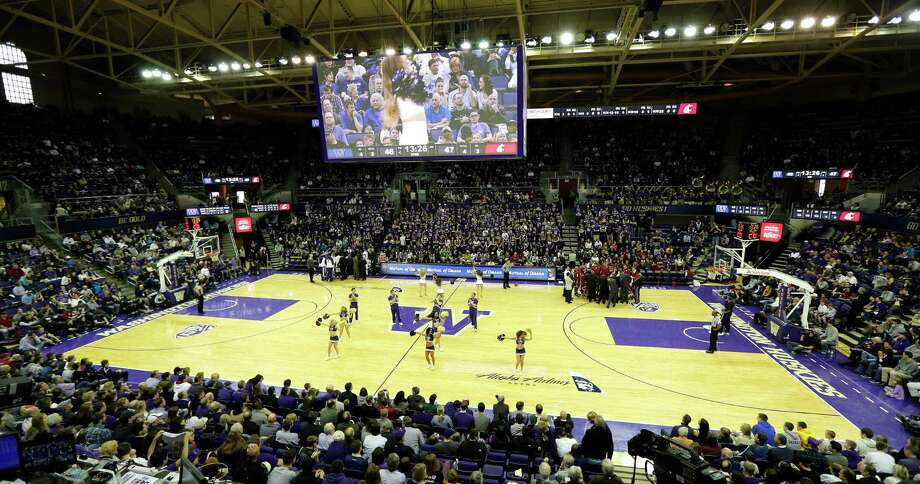 The University of Washington basketball court at Alaska Airlines Arena at Hec Edmundson Pavilion is shown during an NCAA college basketball game between Washington and Washington State, Sunday, March 3, 2013, in Seattle. Photo: Ted S. Warren / Associated Press