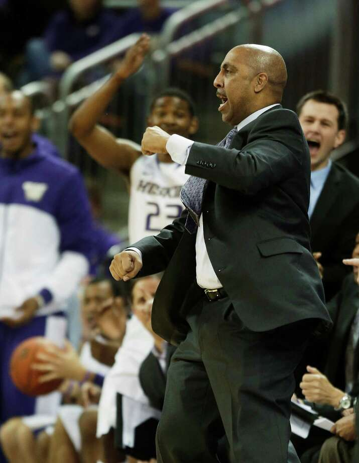 Washington head coach Lorenzo Romar reacts to a play against Washington State in the first half of an NCAA college basketball game on Sunday, March 3, 2013, in Seattle. Washington defeated Washington State 72-68. Photo: Ted S. Warren / Associated Press