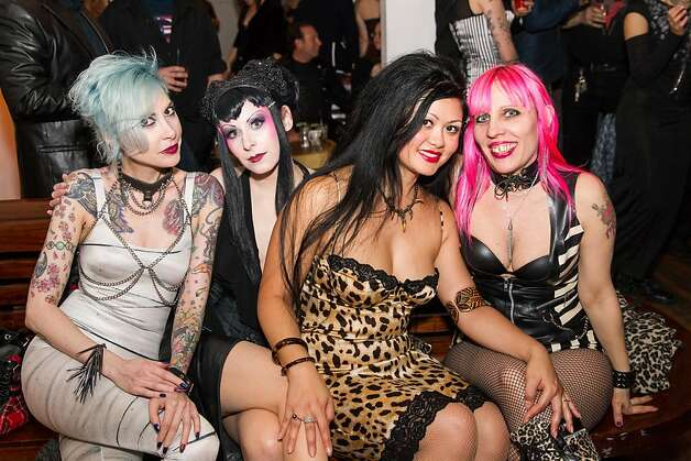 "Serena Toxicat, Princess Pandora, former Bondage A-Go-Go dancer Nancy Luna, and Chelsea Rose, lead singer of the band ""Bite,"" at the Bondage A-Go-Go 20th anniversary party. Photo: Drew Altizer Photography, Laura Morton For Drew Altizer"