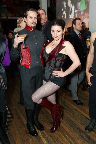 "Daniel Silveira and Autumn Adamme of the custom corset company ""Dark Garden"" in Hayes Valley show off their party finest. Photo: Drew Altizer Photography"
