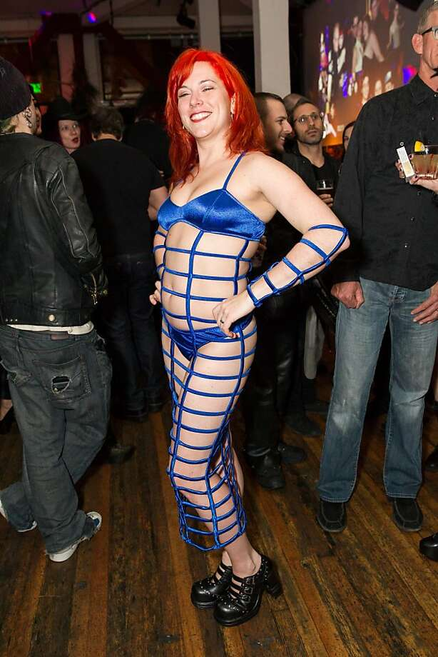 Jenneviere wears a cage dress purchased at a shop on Mission Street near 16th. Photo: Drew Altizer Photography
