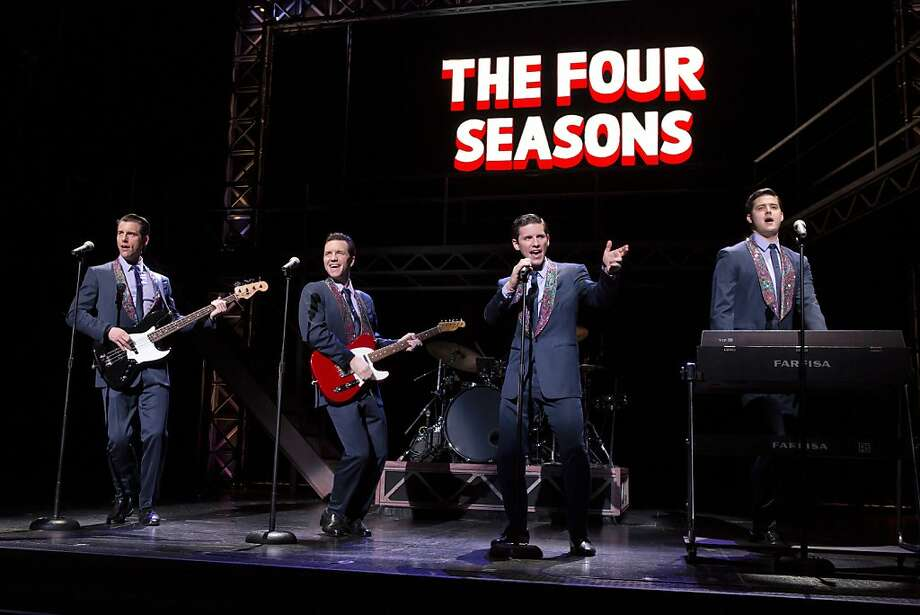 """Jersey Boys"" features Michael Lomenda (left), John Dardiner, Nick Cosgrove and Miles Jacoby as the Four Seasons. Photo: Jeremy Daniel"