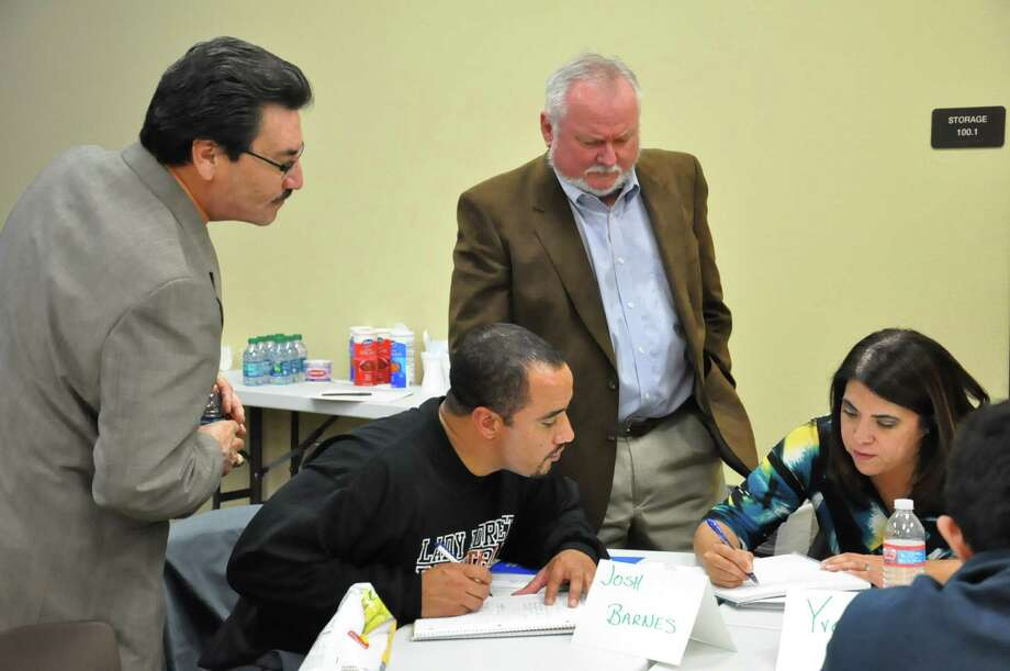 Pictured from the left are Juan A. Jasso, Josh Barnes, David Herrington, Yvette Sanders and Roberto Soto at the Southside ISD leadership class. Photo: Courtesy Photo