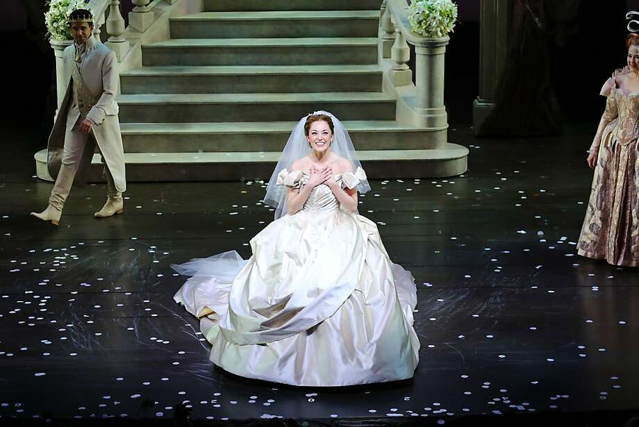 "Some enchanted evening:Soprano Laura Osnes acknowledges applause during the curtain call for ""Cinderella"" on its opening night at Broadway Theatre in New York City. Photo: Neilson Barnard, Getty Images"