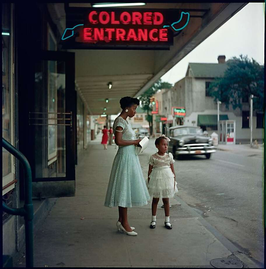 """Department Store, Mobile, Alabama"" (1956) documents the era of segregation, with separate entrances for blacks and whites. Photo: Gordon Parks, Copyright The Gord, Courtesy Jenkins Johnson Gallery"