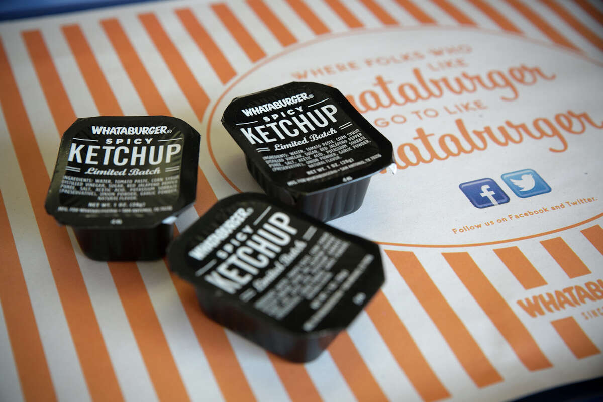 Whataburger Spicy Ketchup, in its distinct black and white packaging, has returned for a limited time.