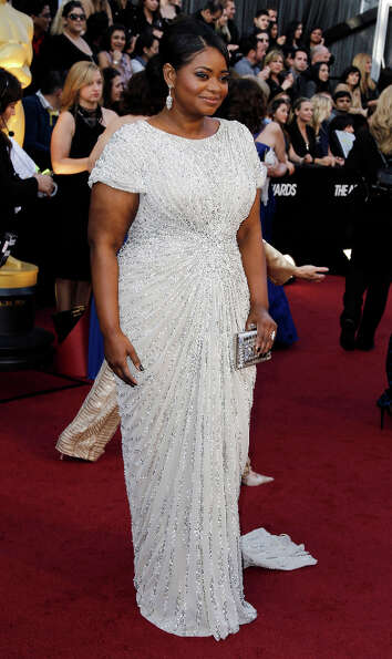 Octavia Spencer won best supporting actress in 2012, and her gorgeous white beaded Tadashi Shoji was