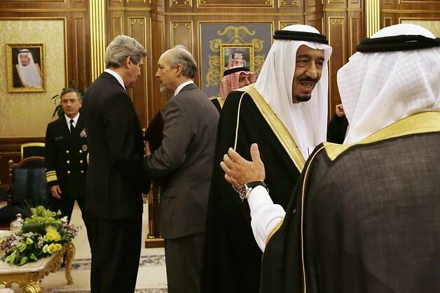 Saudi Crown Prince Salman bin Abdul-Aziz, second right, is greeted as, U.S. Secretary of State John Kerry, second from left, speaks with an advisor before the start of their meeting at Yamamah Palace in Riyadh, Saudi Arabia on Monday, March 4, 2013. Saudi Arabia is the seventh leg of Kerry's first official overseas trip. (AP Photo/Jacquelyn Martin, Pool) Photo: Jacquelyn Martin, Associated Press