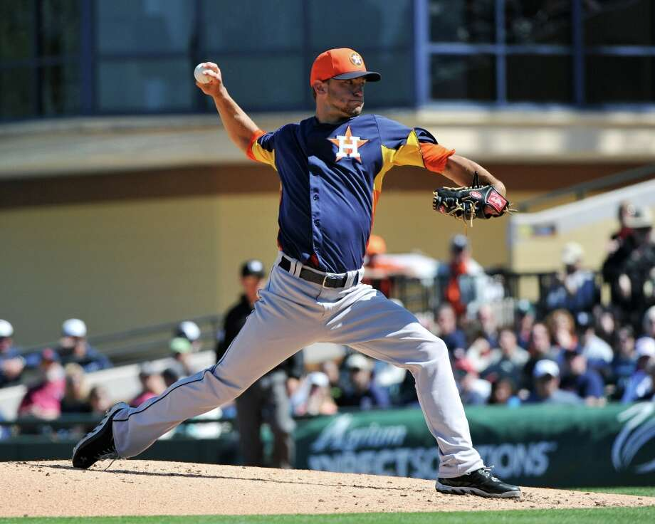 Jarred Cosart works during Monday's game. Photo: Al Messerschmidt / 2013 Getty Images