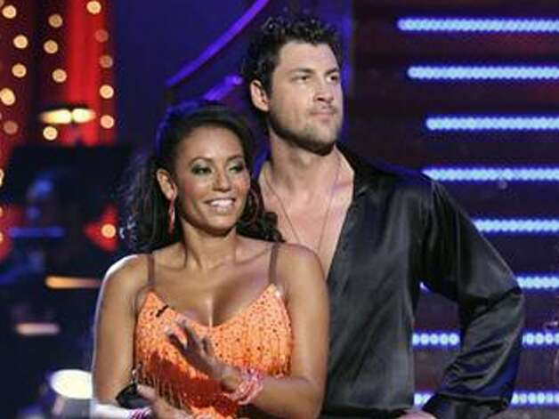 Mel B (seen with 'Dancing with the Stars' partner Maksim Chmerkovskiy) was tapped to replace Sharon Osbourne.