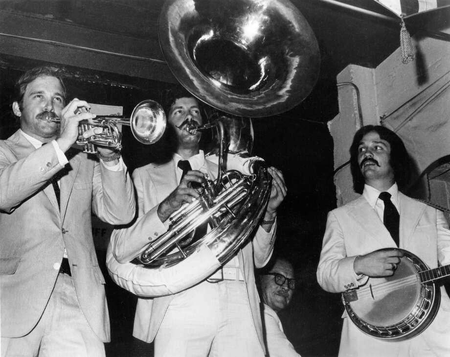 The Happy Jazz, shown here in a 1974 file photo, reportedly 'kidnapped' a radio disc jockey in an on-air prank that the Federal Communications Commission determined was too silly to be taken seriously. From left to right, Jim Cullum, Buddy Apfel, Cliff Gillette and Jim Newell. Photo: FILE