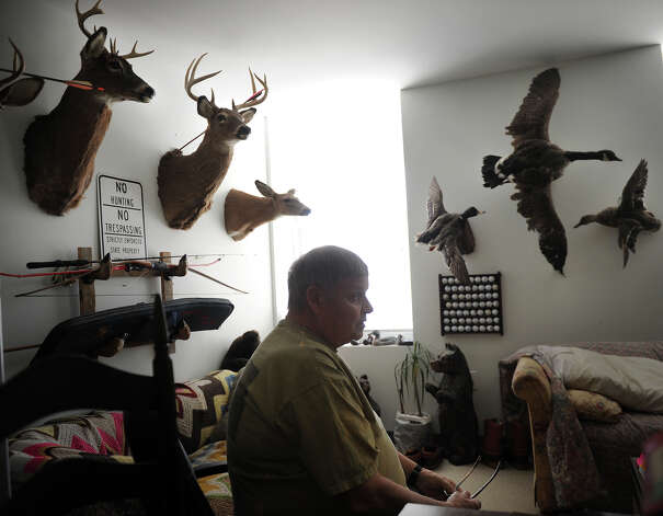 Karl Gates, 69 of Bridgeport, Conn., hopes to sell his taxidermy collection, amassed during his years of hunting, to help pay for his living expenses. Photo: Brian A. Pounds / Connecticut Post
