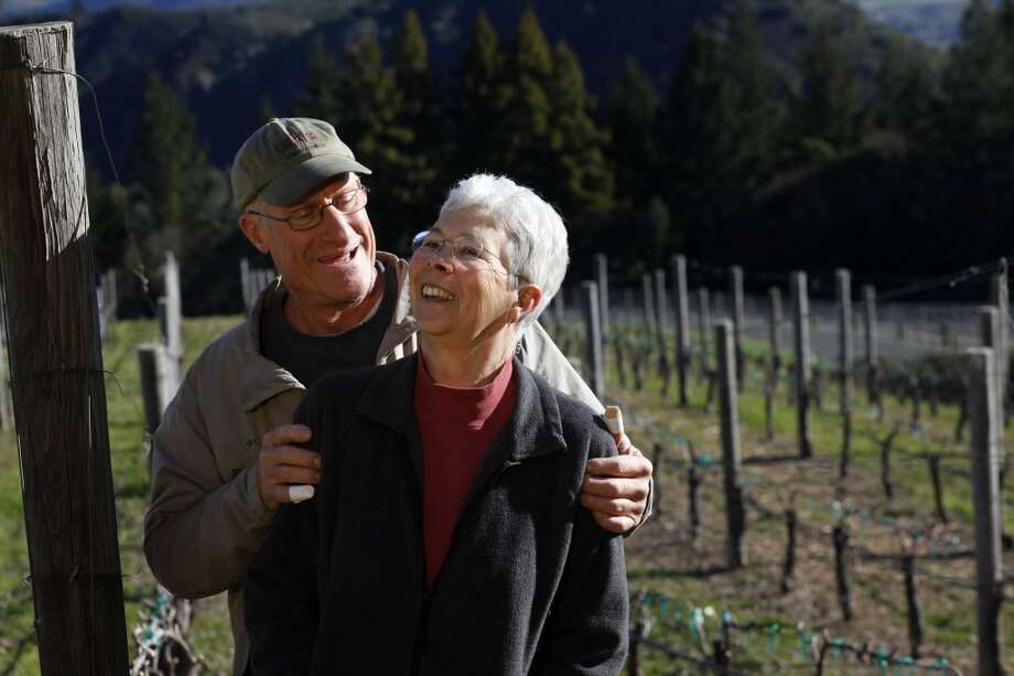 Steve Lagier and wife Carole Meredith walk through their Zinfandel vineyard. Meredith is the geneticist who solved the mystery of Zinfandel's origins and now makes her own, which has been named after the grape's historic name, Tribidrag.