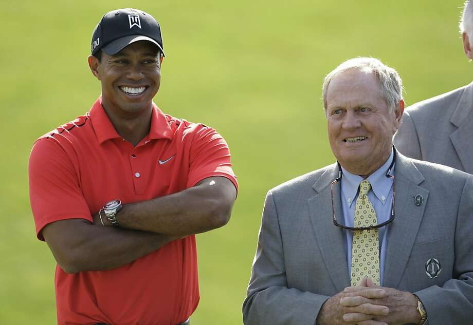 Jack Nicklaus, right, talks with Tiger Woods after Woods won the Memorial golf tournament at the Muirfield Village Golf Club in Dublin, Ohio, Sunday, June 3, 2012. (AP Photo/Tony Dejak) Photo: Tony Dejak, Associated Press