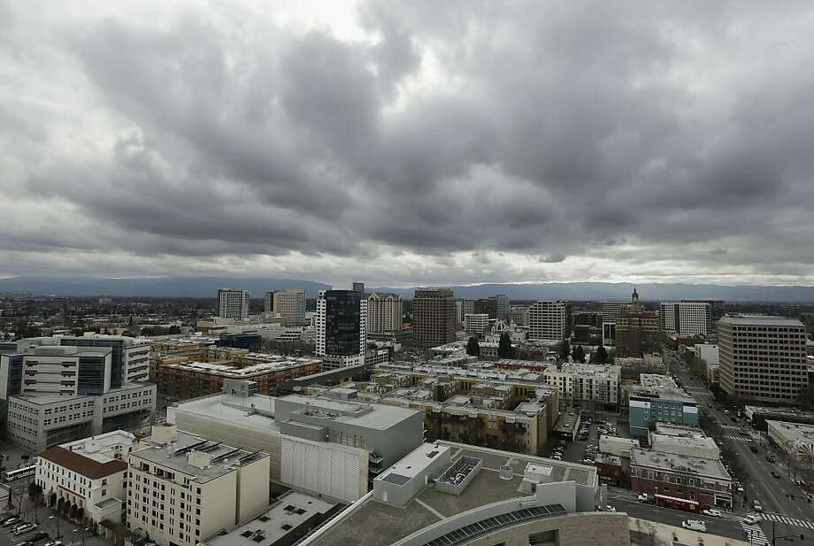 San Jose was cloudy one day last month - but in Silicon Valley, the sun seems to be breaking through, metaphorically speaking. Photo: Jeff Chiu, Associated Press
