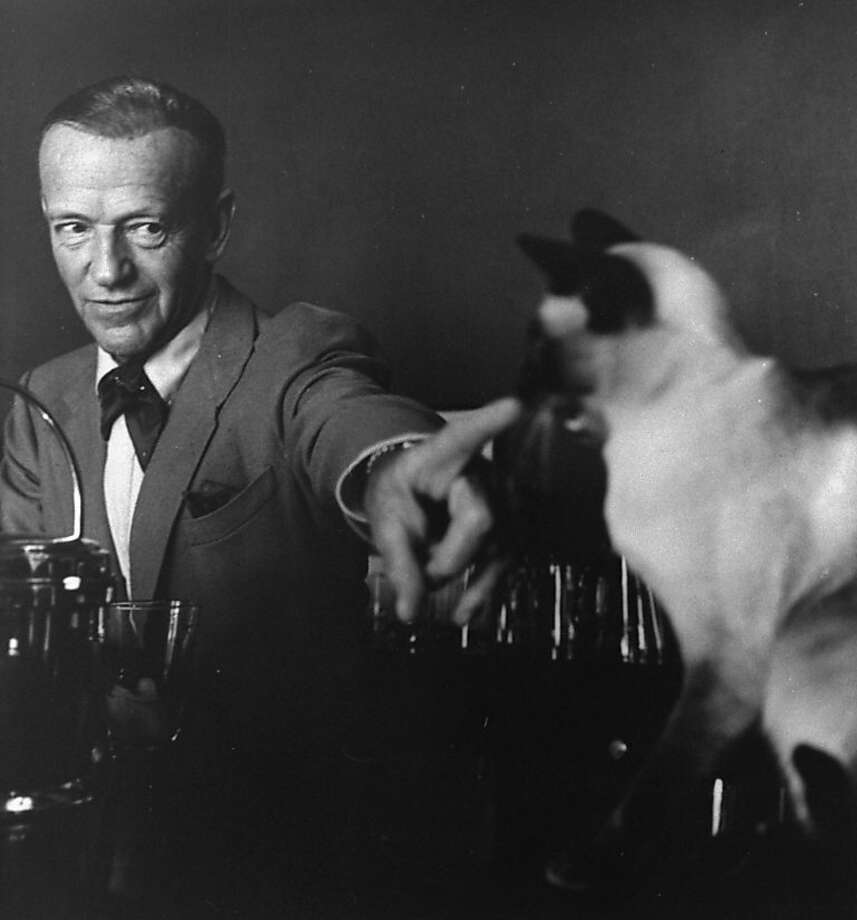 Fred Astaire points at his equally elegant Siamese cat.  Photo: John Swope, Time Life Pictures/Getty Images