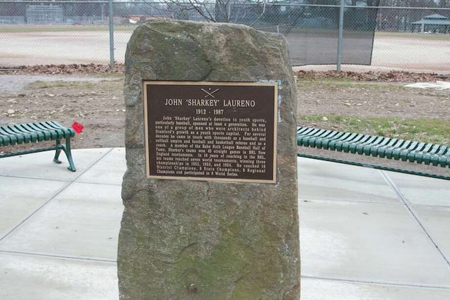 The plaque at  John  Sharkey  Memorial Field at Scalzi Park was reported stolen after it had been pried off a stone pillar. Photo: The (Stamford) Advocate
