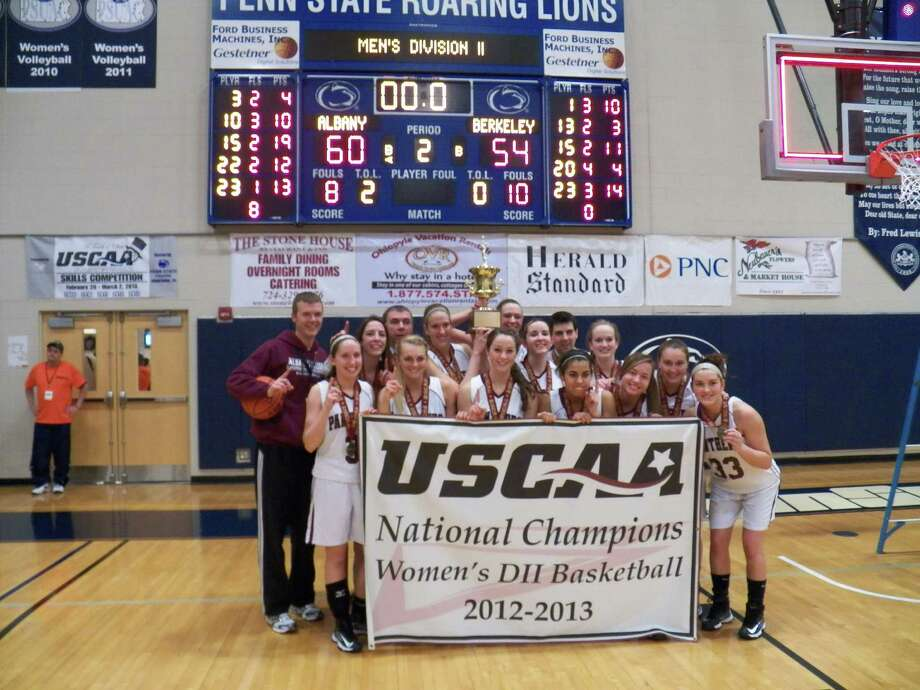 Members of the Albany College of Pharmacy women's basketball team pose after winning the USCAA title game against Berkeley on Saturday, March 2, 2013, in Uniontown, Pa. (Albany College of Pharmacy)