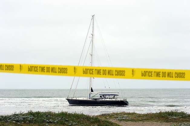 An 82 foot sailboat stolen from the Sausalito Yacht Harbor is run aground with suspects  still aboard at Linda Mar Beach in Pacifica, CA Monday March 4th, 2013. Photo: Michael Short, Special To The Chronicle