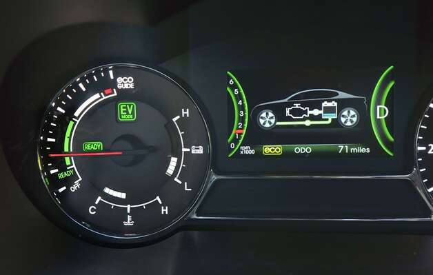 Optima hybrid instrument panel keeps tabs on the state of the car's charging system