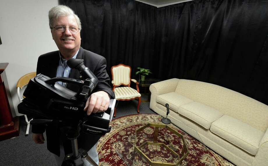 Randall Hogue, executive director in the interview studio Feb. 26, 2013 in the Schenectady Access Cable Council office in Schenectady, N. Y.   (Skip Dickstein/Times Union) Photo: SKIP DICKSTEIN / 10021304A