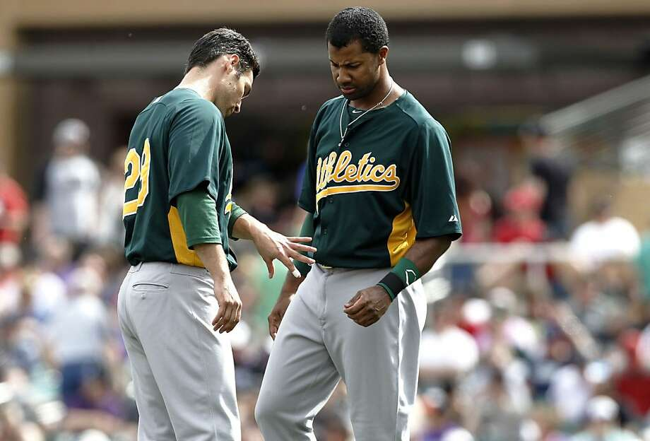 Oakland's Scott Sizemore, (29) (left) shows his hand to teammate Chris Young, (25) after he was hit by a pitch in the third inning, as the Oakland Athletics went on to beat the Colorado Rockies 7-2 in spring training baseball at Salt River Fields on Sunday Mar. 3, 2013, In Scottsdale, Az. Photo: Michael Macor, The Chronicle