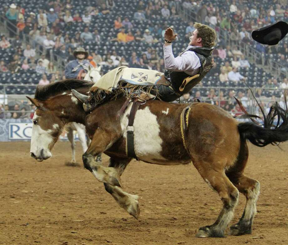 Joe Gunderson competes in Bareback Riding during the BP Super Series III Round 2 at Reliant Stadium on Monday, March 4, 2013, in Houston. Photo: Mayra Beltran, Houston Chronicle / © 2013 Houston Chronicle