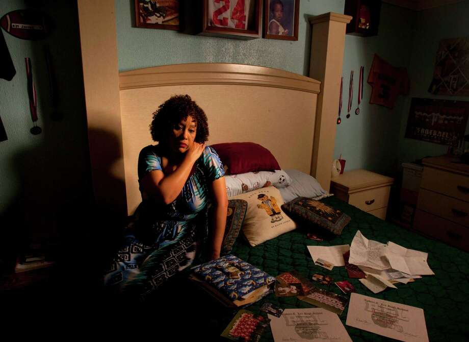 Barrie Deyon-Whittington has kept the room of her dead son, Jarrell Deyon, just as it was on the day of his murder in 2005. Photo: Billy Smith II, Staff