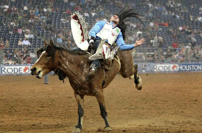 Caleb Bennett competes in Bareback Riding during the BP Super Series III Round 2 at Reliant Stadium