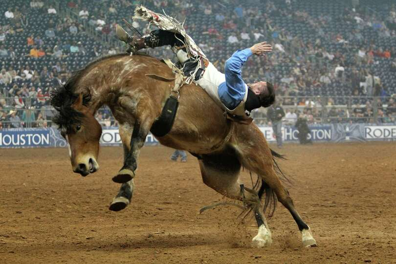 Evan Jayne competes in Bareback Riding during the BP Super Series III Round 2 at Reliant Stadium on
