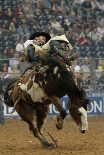 Joe Gunderson competes in Bareback Riding during the BP Super Series III Round 2 at Reliant Stadium