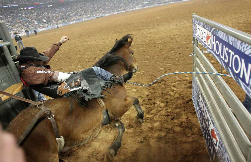 Jessy Davis competes in Bareback Riding during the BP Super Series III Round 2 at Reliant Stadium on