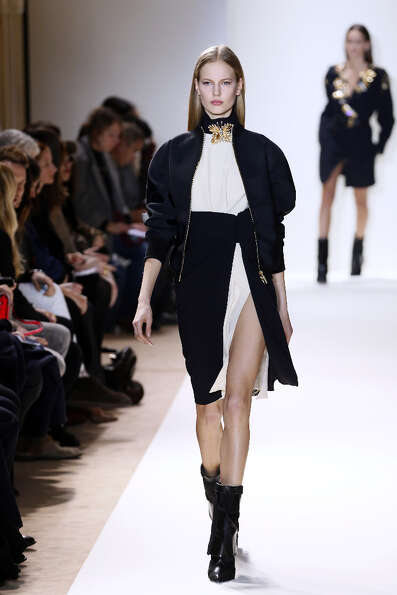 A model presents a creation for Emanuel Ungaro during the Fall/Winter 2013-2014 ready-to-wear collec