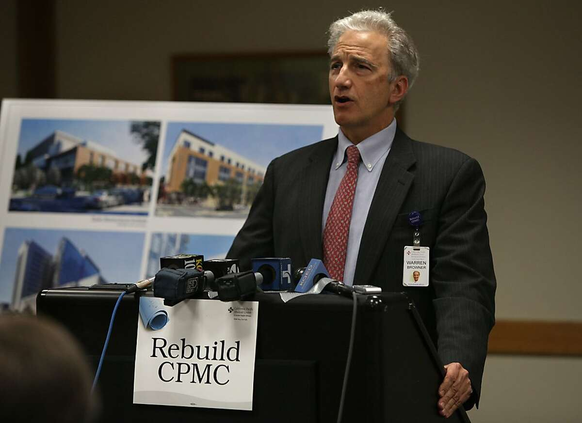 Dr. Warren Browner, CEO of California Pacific Medical Center, at St. Luke's Hospital in San Francisco, Calif., talking about CPMC's commitment to honor development agreements approved by the planning commission and calling upon the board of supervisors to approve the multi-billion dollar earthquake safety rebuild program on Monday, July 9, 2012.