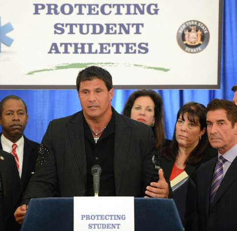 Former major league baseball player Jose Canseco speaks during a press conference at the Capitol March 4, 2013  about the dangers of the drug DMAA and other performance enhancing drugs  (Skip Dickstein/Times Union) Photo: SKIP DICKSTEIN
