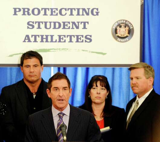 Senate Co-Leader Jeff Klein speaks during a press conference at the Capitol March 4, 2013  about the dangers of the drug DMAA and other performance enhancing drugs.  Behind Klein is former major league baseball player Jose Conseco, left and Leanne and Michael Sparling, parents of Pvt Michael Sparling, a Marine who died in a DMAA-related death.  (Skip Dickstein/Times Union) Photo: SKIP DICKSTEIN