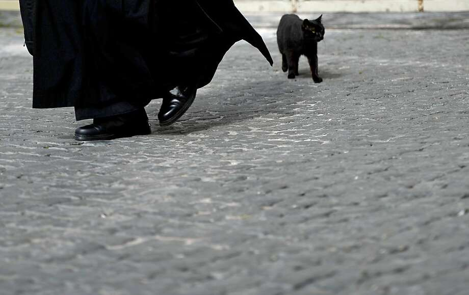 A balck cat walks past a priest during cardinals talks ahead of a conclave to elect a new pope on March 4, 2013 at the Vatican. The Vatican meetings will set the date for the start of the conclave this month and help identify candidates among the cardinals to be the next leader of the world's 1.2 billion Catholics. Photo: Filippo Monteforte, AFP/Getty Images
