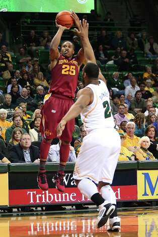Who's hot - Iowa State G Tyrus McGee: The native of the aptly named Stringtown, Okla., continued to provide some string music on the courts for the Cyclones. McGee went for 22 points and hit 6 of 9 3-pointers against Oklahoma. He's scored at least 20 points in four of his last six games and has hit 20 of 33 3-pointers (60.6 percent) in his last five games. Photo: Michael Bancale, Associated Press / The Waco Tribune-Herald