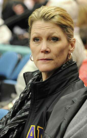 UAlbany woman's basketball head coach Katie Abrahamson-Henderson watches the Class AA girls' champio