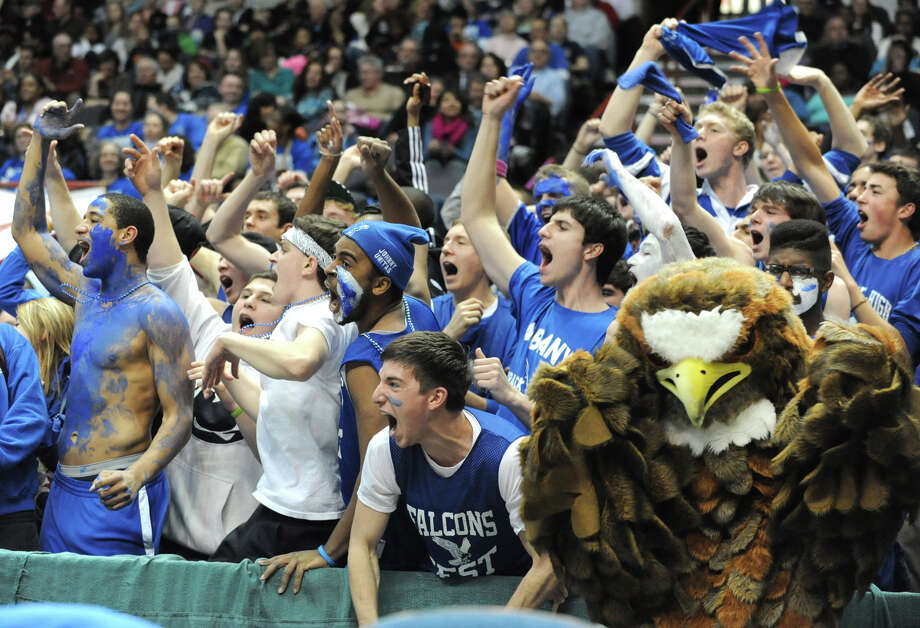 Albany High School fans cheer toward the end of the Class AA girls' championship basketball game between Albany and Bethlehem at the Times Union Center on Monday March 4, 2013 in Albany, N.Y.  (Lori Van Buren / Times Union) Photo: Lori Van Buren
