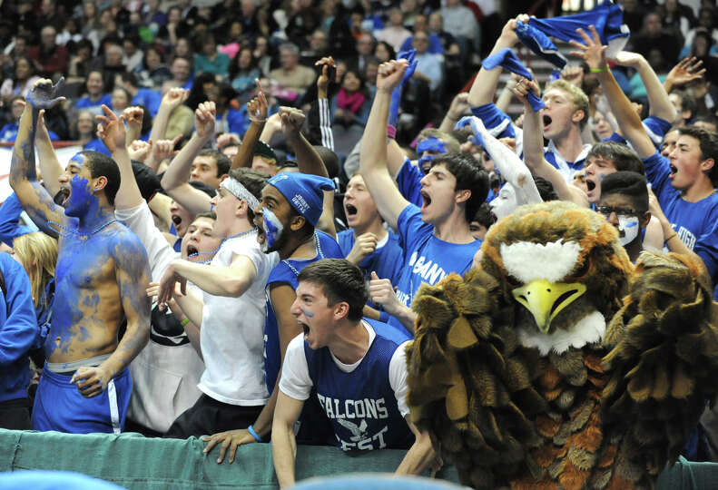 Albany High School fans cheer toward the end of the Class AA girls' championship basketball game bet