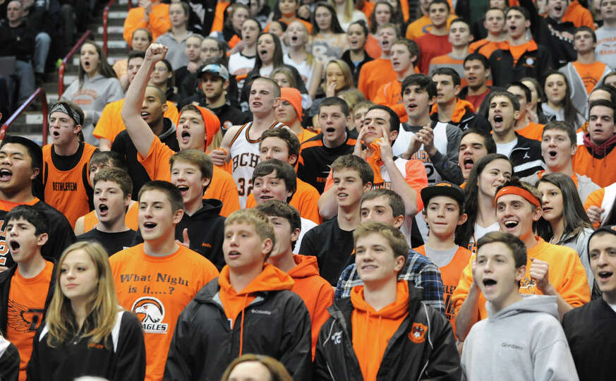 Bethlehem fans cheer during the Class AA girls' championship basketball game against Albany at the T