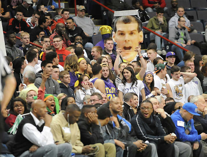 Troy fans cheer during the Class AA boys' championship basketball game against Green Tech at the Tim
