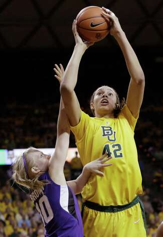 Baylor center Brittney Griner (42) shoots against Kansas State guard Heidi Brown (10) during the first half of an NCAA college basketball game Monday, March 4, 2013, in Arlington, Texas. (AP Photo/LM Otero) Photo: LM Otero, Associated Press / AP