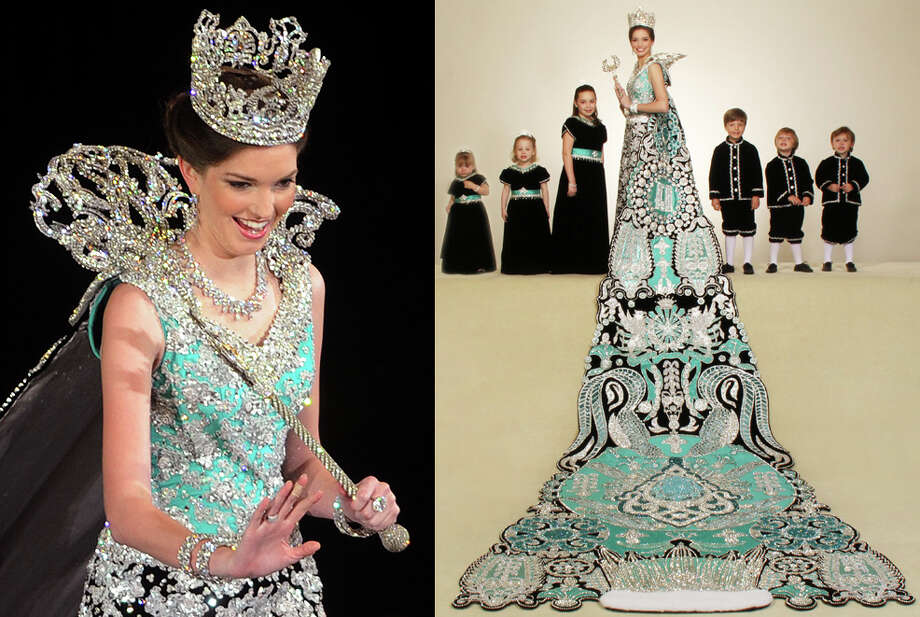 2010, Carolyn Marie Hinchey: Queen of the Court of Dazzling Adornments. Photo: LEFT: Billy Calzada / San Antonio Express-News, RIGHT: Gary Stanko / Courtesy Photo / gcalzada@express-news.net