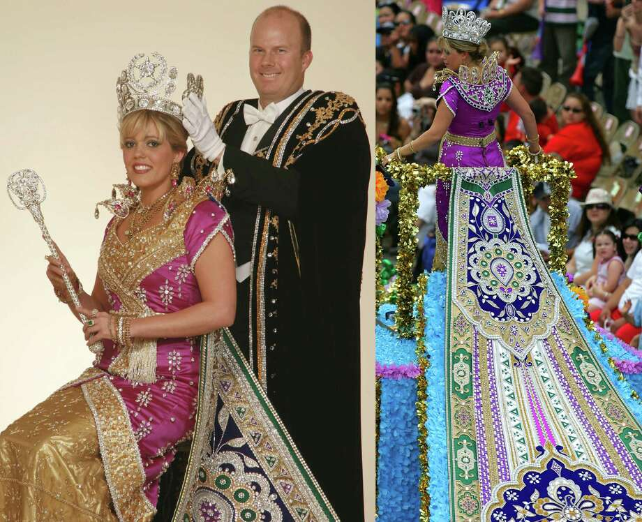 2007, Caroline Allyson Basse: Queen of the Court of the Splendors of Fire and Ice. Photo: LEFT: Gary Stanko / Courtesy Photo, RIGHT: San Antonio Express-News File Photo