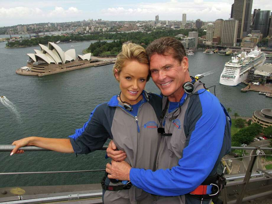 Hasselhoff embracing girlfriend Hayley Roberts in 2012. Photo: BRIDGECLIMB, AFP/Getty Images / AFP