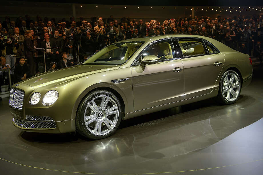 The new Flying Spur Bentley model car is displayed during a preview of Volkswagen Group on March 4, 2013 ahead of the Geneva Car Show in Geneva. Photo: FABRICE COFFRINI, AFP/Getty Images / 2013 AFP