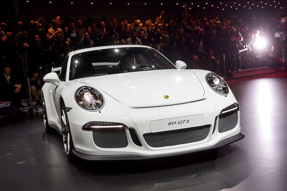 The GT3 Porsche model car is displayed during a preview of Volkswagen Group on March 4, 2013 ahead of the Geneva Car Show in Geneva. Photo: FABRICE COFFRINI, AFP/Getty Images / 2013 AFP